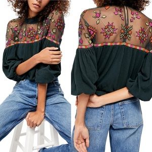 Free People Monday Morning Embroidered Top Green